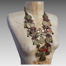 Kuchi Necklace, Coin Necklace, Vintage Necklace, Afghan, Gypsy, Silver, Middle Eastern, Boho, India, Belly Dance