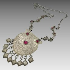 Gypsy Necklace, Afghan Jewelry, Vintage, Middle Eastern, Medallion Pendant, Kuchi, Big Pendant, Red, Silver Metal