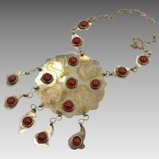 Afghan Necklace, Carnelian, Silver, Mixed Metal, Vintage Necklace, Medallion, Massive, Oversized, Kuchi