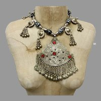 India Necklace, Kashmiri, Vintage Necklace, India, Silver, Big, Massive, Pendant, Beaded, Pakistan, Middle Eastern, Afghan, Boho, Statement