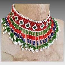 Beaded Choker, Fringed, Afghan Jewelry, Vintage Necklace, Middle Eastern, Red, Blue, Green, Woven, Boho Statement, Bohemian, Hippie Festival