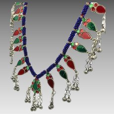 Afghan Necklace, Red, Blue, Green, Gypsy Necklace, Massive, Kuchi, Vintage Necklace, Turkmen, Boho Statement, Bohemian, Ethnic Tribal, Big