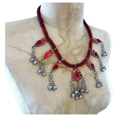 Afghan Necklace, Red, Gypsy Necklace, Kuchi Jewelry, Vintage Necklace, Big, Bohemian, Ethnic