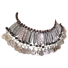 Kuchi Necklace, Afghan Jewelry, Gypsy, Vintage Necklace, Silver Metal, Wood, Dangles, Turkomen, Boho Statement, Bohemian, Ethnic Tribal