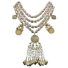Boho Necklace, Big, Coins, Massive, Afghan, Kuchi, Gypsy, Beaded, Silver, Vintage Necklace, Multi Strand, Oversized, Huge, Bohemian
