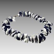Lucite Necklace, Navy Blue, White, Vintage Necklace, 1980s, Huge, Oversized, Plastic, 80s, NOS, Massive, Disks, Funky, Large, Statement