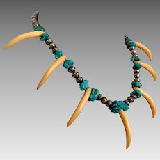 Turquoise Necklace, Rare, Claw Necklace, Native American, Sterling Silver, Bench Beads, Vintage Beaded