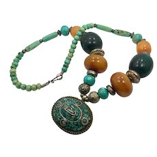 Turquoise Necklace, Tibet, Vintage Necklace, Statement, Inlaid Stone, Beaded, Nepal, Big, Vintage, Beaded, Amber Copal Resin, Tibetan Silver