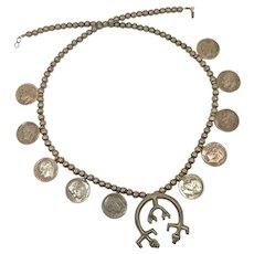 Squash Blossom Necklace, Naja, Vintage Necklace, Native American, Navajo, Sandcast, 1964, Dime Coins, Sterling Silver