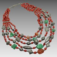Boho Necklace, Turquoise, Red, Vintage Necklace, Southwestern, Art Glass, Multi-Stranded, Beaded Necklace, Silver, Big, Large, Oversized