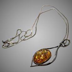 Amber Pendant, Sterling Silver, Amber Necklace, Vintage Necklace, Honey Amber, Sterling Chain