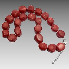 Red Coral Necklace, Sterling Silver, Vintage Necklace, Dyed Coral, Oversized, Bohemian, Chunky, Massive, Boho, Southwestern, Big
