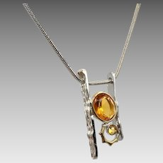 Modern Necklace, Sterling Silver, Vintage Necklace, Contemporary, Minimalist, Sterling Chain, Faux Citrine, Sterling Pendant, Yellow Stones