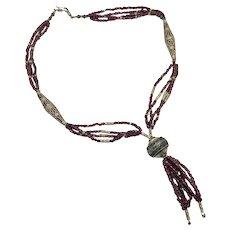 Garnet Necklace, Old Silver, Vintage Necklace, Tassel Pendant, Beaded, Bohemian Ethnic