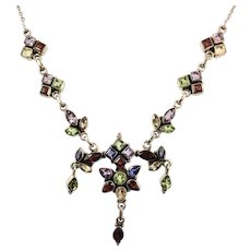 Gemstone Necklace, Garnet, Amethyst, Peridot, Citrine, Sterling Silver, Vintage Necklace, Multi Gemstone, Multi Mixed Colors, Boho, Red
