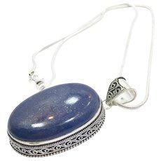 Lapis Pendant, Sterling Silver, Vintage Pendant, Lapis Necklace, Chain, Blue, Lapis Lazuli, Big Stone, Boho Jewelry, Large, Vintage Necklace