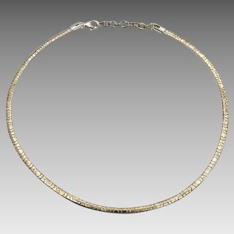 "Omega Chain, Sterling Silver, Italy, 18"", 4 mm, Chain, Choker, Collar, Necklace, 925, Minimalist, Retro, Silver Collar"