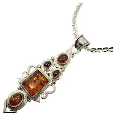 Amber Pendant, Amber Necklace, Sterling Silver, Garnets, Honey Amber, Huge Pendant, Large Stones, Sterling Chain, Statement Necklace