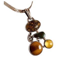 Stone Pendant, Jasper, Chrysocolla, Tiger Eye, Sterling Silver, Vintage Necklace, OOAK, Artisan, Multi Mixed Stones