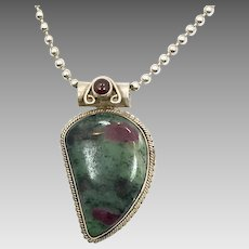 Ruby Zoisite Pendant, Garnet, Sterling Silver, Vintage Necklace, Ruby Zoisite Necklace, Big Stone, Green, Red, Boho, Ethnic