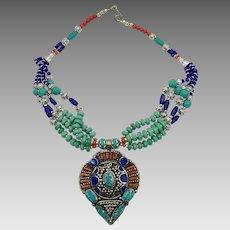Lapis Necklace, Boho Nepal, Turquoise, Vintage Necklace, Coral, Nepalese Jewelry, Multi-Strand, Big, Tibetan Silver, Bohemian, Tribal Ethnic