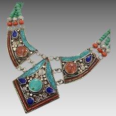 Turquoise Necklace, Nepal, Lapis, Coral, Tibet, Nepalese Jewelry, Vintage Necklace, Bib, Large, Beaded, Tibetan Silver, Boho, Big, Ethnic