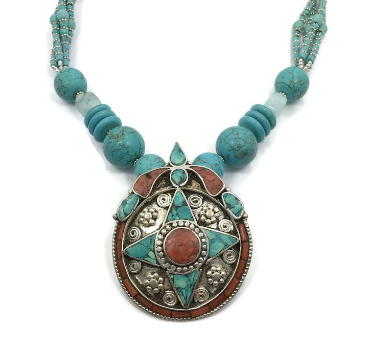 3608f93f2 Fabulous Nepal Necklace, Turquoise Necklace, Coral Stone, Tibet, Nepalese  XN81