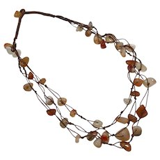Agate Necklace, Brown, Vintage Necklace, Hand Knotted, Multi-Strand, Neutral, Earth Tones