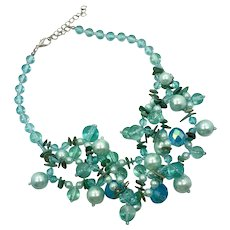 Aqua Necklace, Vintage Necklace, Mermaid Inspired, Glass Beads, Shell, New Old Stock, Beaded