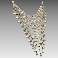Bib Necklace, Vintage Necklace, Pearls, Glass Rhinestones, Gold, Unique, Statement, Chains, Dangles, White Necklace, Vintage Jewelry