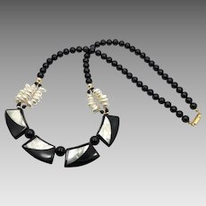 Black Lucite Necklace, White Shell, Gold Metal, Vintage Necklace, Pearls, Black White Necklace, Retro, Plastic, Beaded Necklace