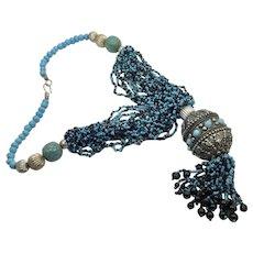 Blue Beaded Necklace, Big Statement, Vintage Necklace, Silver, Massive, Huge, Multi Strand, Bohemian Boho, Ethnic Tribal, Oversized