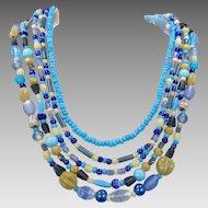 Boho Necklace, Blue Glass Beaded, Vintage Jewelry, Multi Strand, Robins Egg Blue, Gypsy Necklace, Bohemian, Big Statement, Layering Layer
