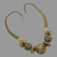 Brass Necklace, Big Statement, Vintage Necklace, Bohemian Boho, Massive Huge, Ethnic Tribal, Oversized