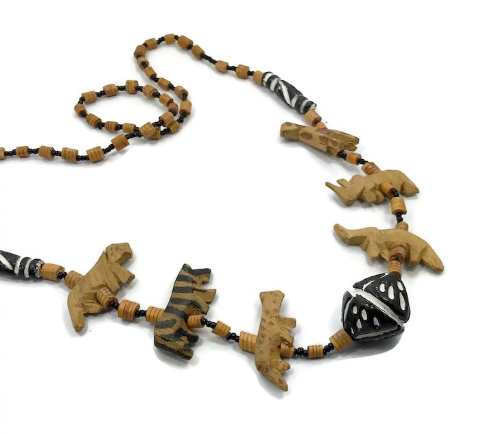 beaded el vintage bambi necklace wooden s carved products