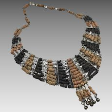 Boho Necklace, Clay Beads, Vintage Necklace, Egyptian Revival, Bib Necklace, Unique, Boho Statement, Brown, Ethnic, Tribal, Bohemian
