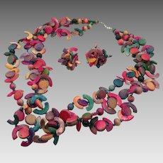 Wooden Necklace, Earring Set, Vintage Necklace, Purple, Pink, Teal, 1980s, 80s, Pierced Earrings, Boho Statement, Multi-Strand, Oversized