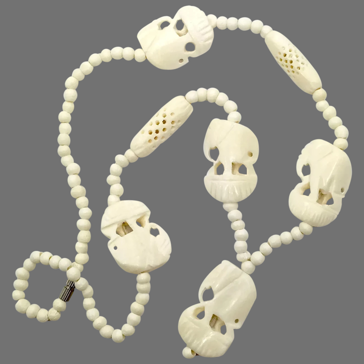 Elephant Necklace Carved Bone Vintage Jewelry African Ethnic Invintageheaven Ruby Lane