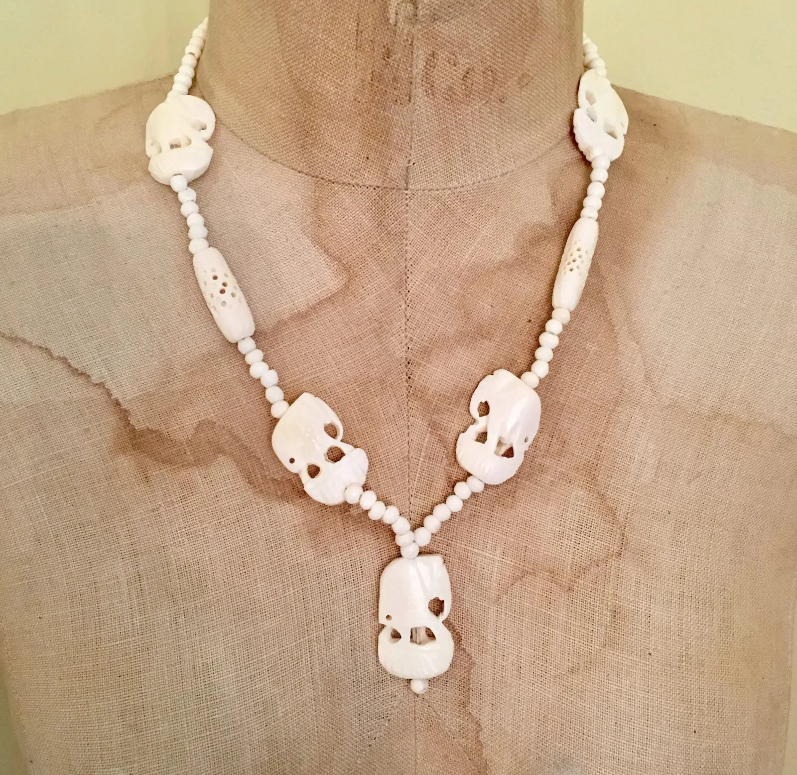 Elephant Necklace Carved Bone Vintage Jewelry African