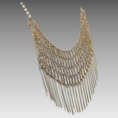 Chain Bib Necklace, Vintage Necklace, Woven Chain, Soft Gold, Egyptian Revival, Bohemian Statement, Large Necklace, Unique, Unusual