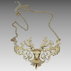 Deer Necklace, Bib Necklace, Woodland Fairy Jewelry, Vintage Necklace, Reindeer, Gold, Ornate, Unique, Unusual, Exotic, Statement, Large
