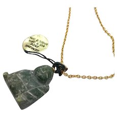 Buddha Pendant, Jade Buddha, Vintage Necklace, NOS, Gold Chain, Carved Stone, Jade Pendant, New Old Stock, Carved Buddha