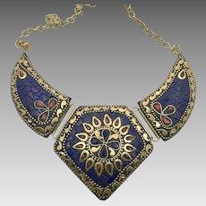 Blue Lapis Necklace, Tibet Necklace, Red Coral, Nepal Jewelry, Vintage Necklace, Brass, Bib Necklace, Boho Bohemian, Gypsy, Statement