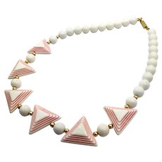 Pink White Necklace, Vintage Necklace, 1960s, NOS, Geometric, Plastic, Beaded, Retro Necklace, Vintage Jewelry, Lucite, Kitschy, Chunky, Big