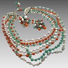 Glass Beaded Necklace, Vintage Jewelry, Multi Strand, Matching Earrings, Mint Green, White, Orange, Set, 60s, 50s, Silver Metal