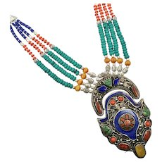 Nepal Necklace, Lapis Necklace, Turquoise, Vintage Necklace, Tibetan Silver, Massive, Beaded Multi Strand, Green Red Amber, Big, Boho