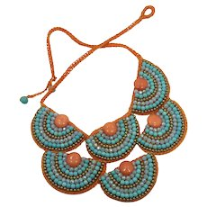 Bib Necklace, Turquoise Orange, Bohemian, Vintage Jewelry, Beaded Macrame, Statement Necklace