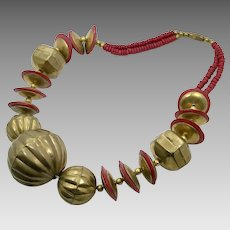 Chunky Necklace, Red, Brass, Vintage Necklace, 1970s, India, Wooden Beads, Boho, Statement, Beaded, Retro Necklace, Big, Ethnic