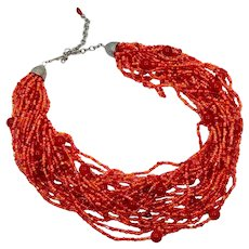 Red Orange Necklace, Torsade, Beaded Glass, NOS, Multi Strand, Glass Beads, Vintage Necklace, Silver