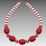 Red White Necklace, Vintage Necklace, 1960s, New Old Stock, Plastic, Beaded, Retro Necklace, Vintage Jewelry, Lucite, Kitschy, Chunky, Big
